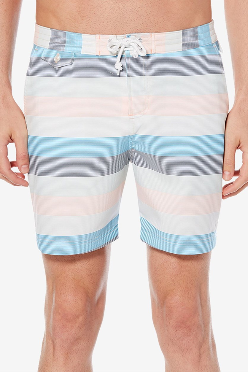 Men's Striped Volley Swim Trunks, Impatiens Pink