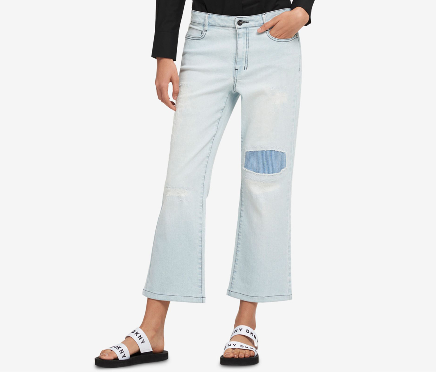 Patched Kick-Flare Jeans, Light Indigo