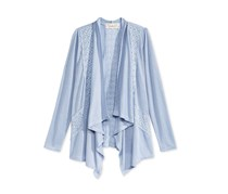 Pink Republic Pointelle Drape-Front Cardigan, Blue