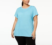 Calvin Klein Performance Plus Size Heathered Pleated-Back T-Shirt, Cyan
