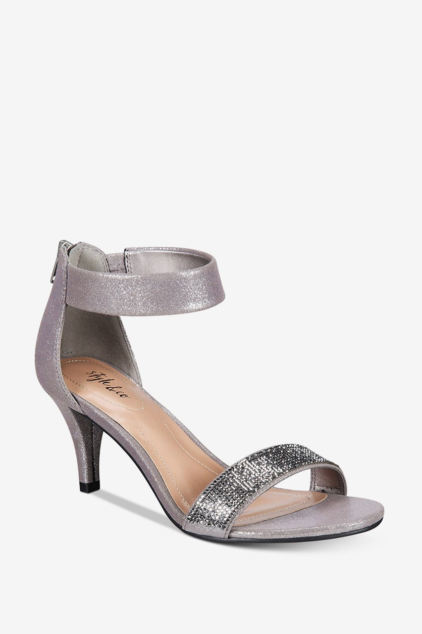 . Phillys Two-Piece Evening Sandals, Gunmetal