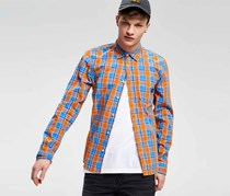 Cropp Men's Checkered Shirt, Orange/Blue