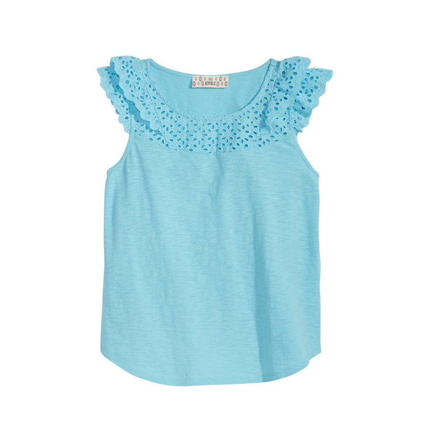 Big Girls Ruffle Sleeve Cotton Top, Blue