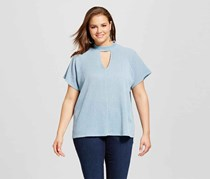 Le Kate Women's Plus Size Choker Neckline Blouse, Light Blue