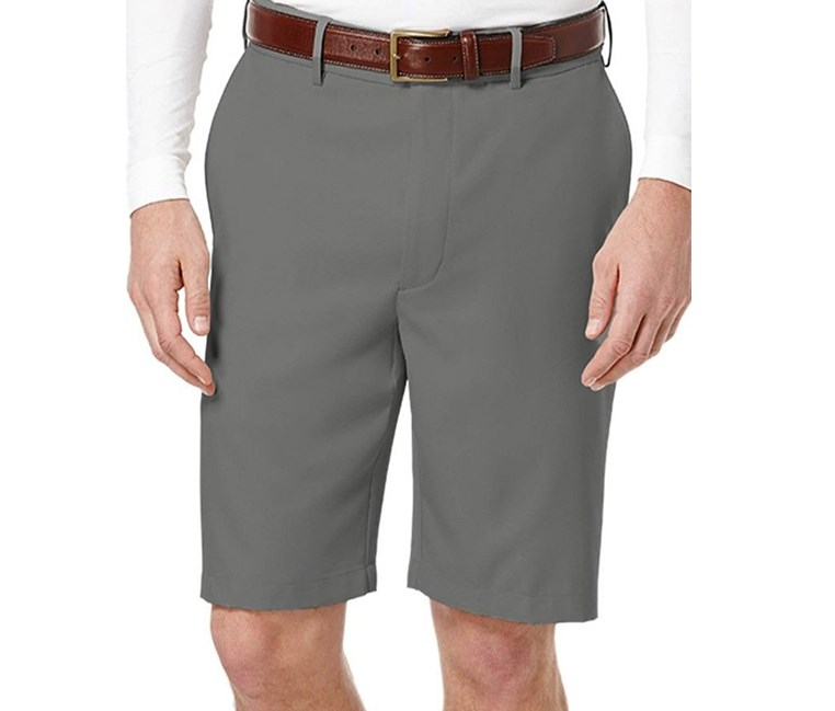 Men's Flat-Front Expandable Shorts, Asphalt