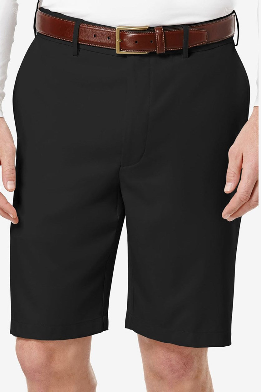 Men's Flat-Front Expandable Shorts, Black