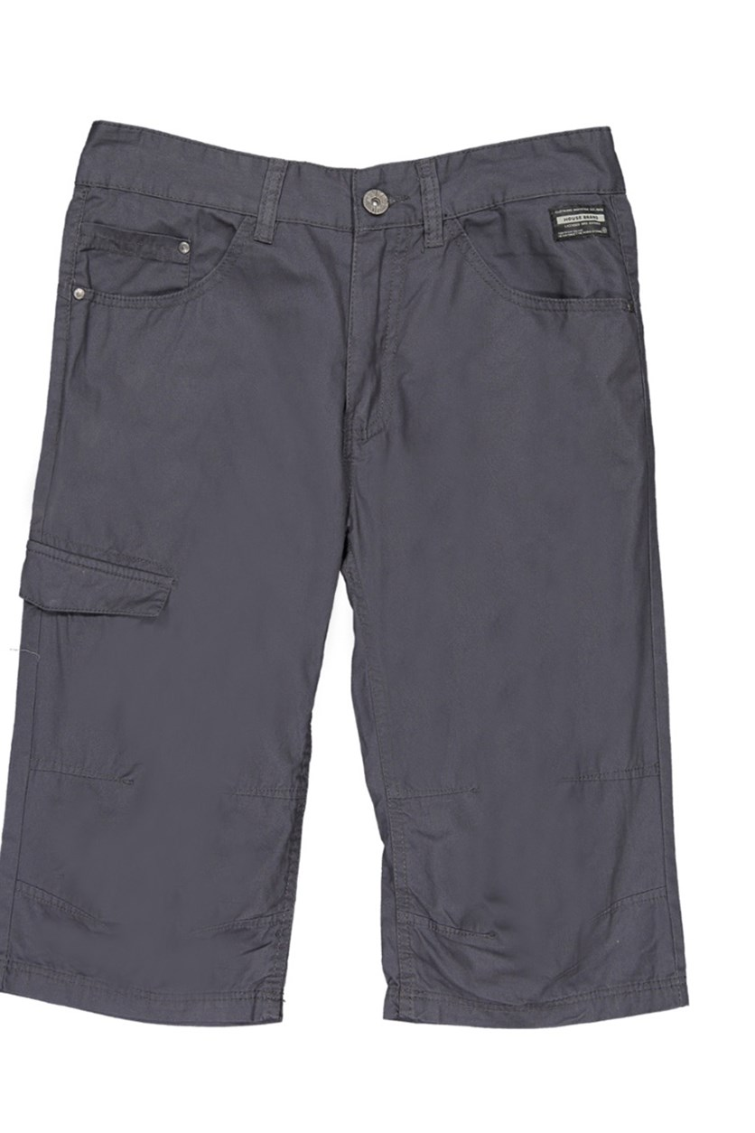 Men's Plain Shorts, Steel
