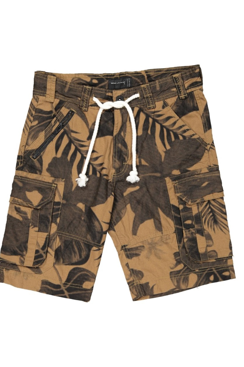 Men's Printed Cargo Shorts, Brown Combo
