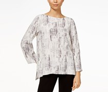 Eileen Fisher Printed High-Low Top, Bone