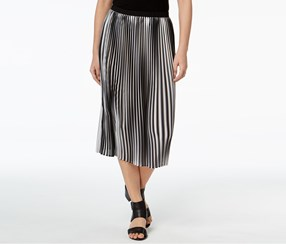 Eileen Fisher A-Line Pleated Midi Skirt, Reg Black/Brown
