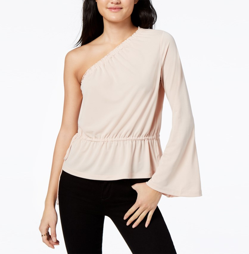 One-shoulder Bell-sleeved Top, Blush