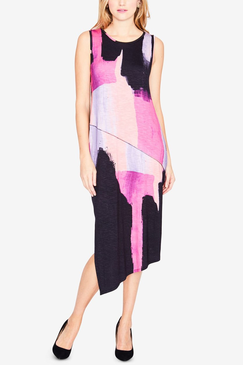 Brushstroke Asymmetrical Dress, Cosmic Pink Combo