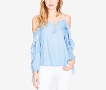 Rachel Roy Ruffled Cold-Shoulder Top, Light Wash