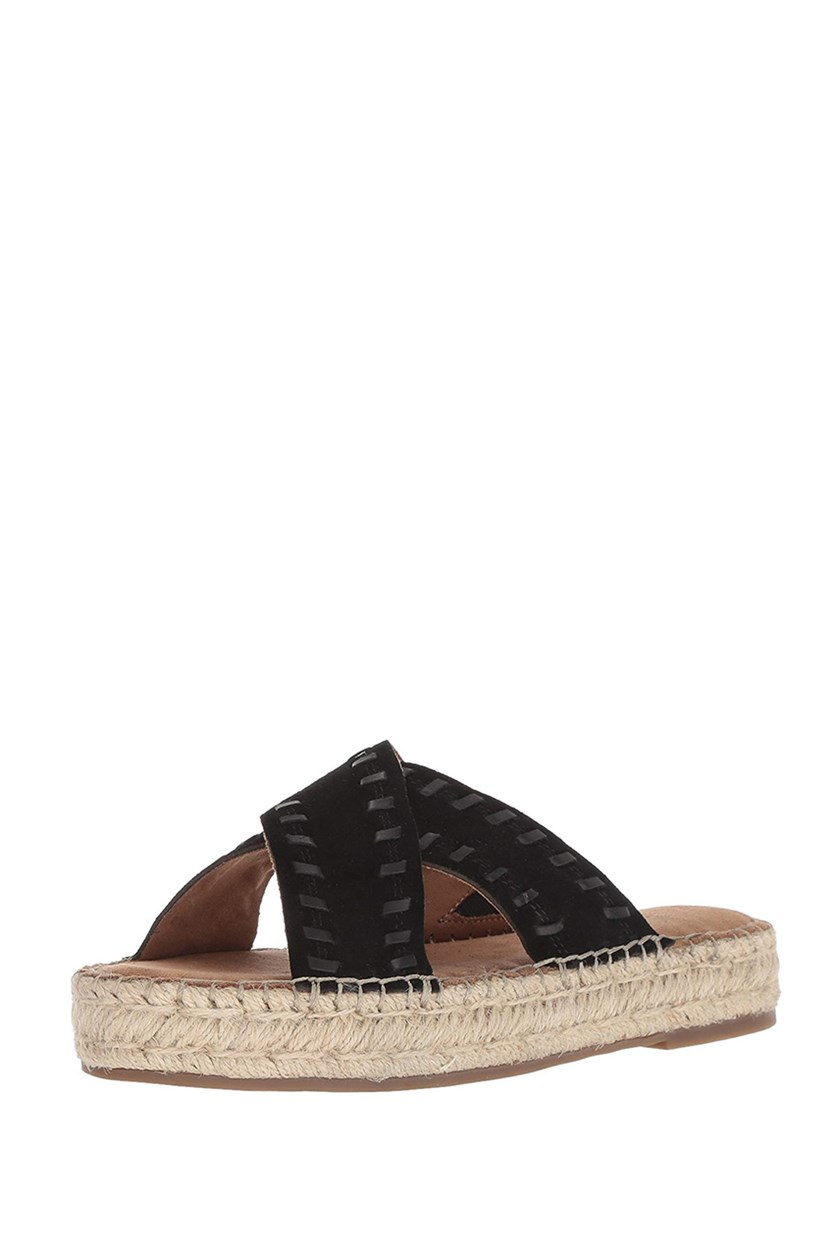 Women's Rose Gold Espadrille Sandal, Black Suede
