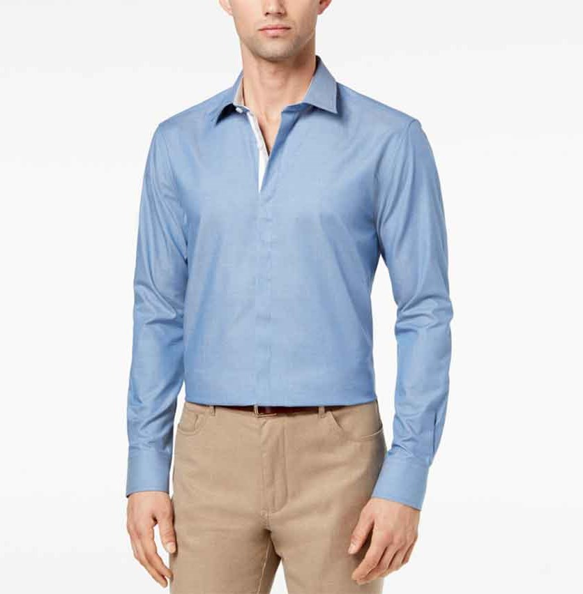 Men's Slim-Fit Chambray Shirt, Light Pastel Blue