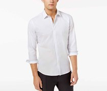 Ryan Seacrest Distinction Men's Hidden Placket Solid Textured Woven Shirt, White