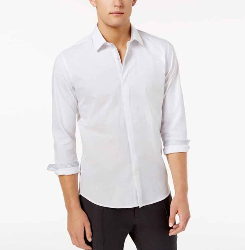 Men's Hidden Placket Solid Textured Woven Shirt, White