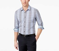 Men's Slim-Fit Grid Sport Shirt, Light Pastel Blue