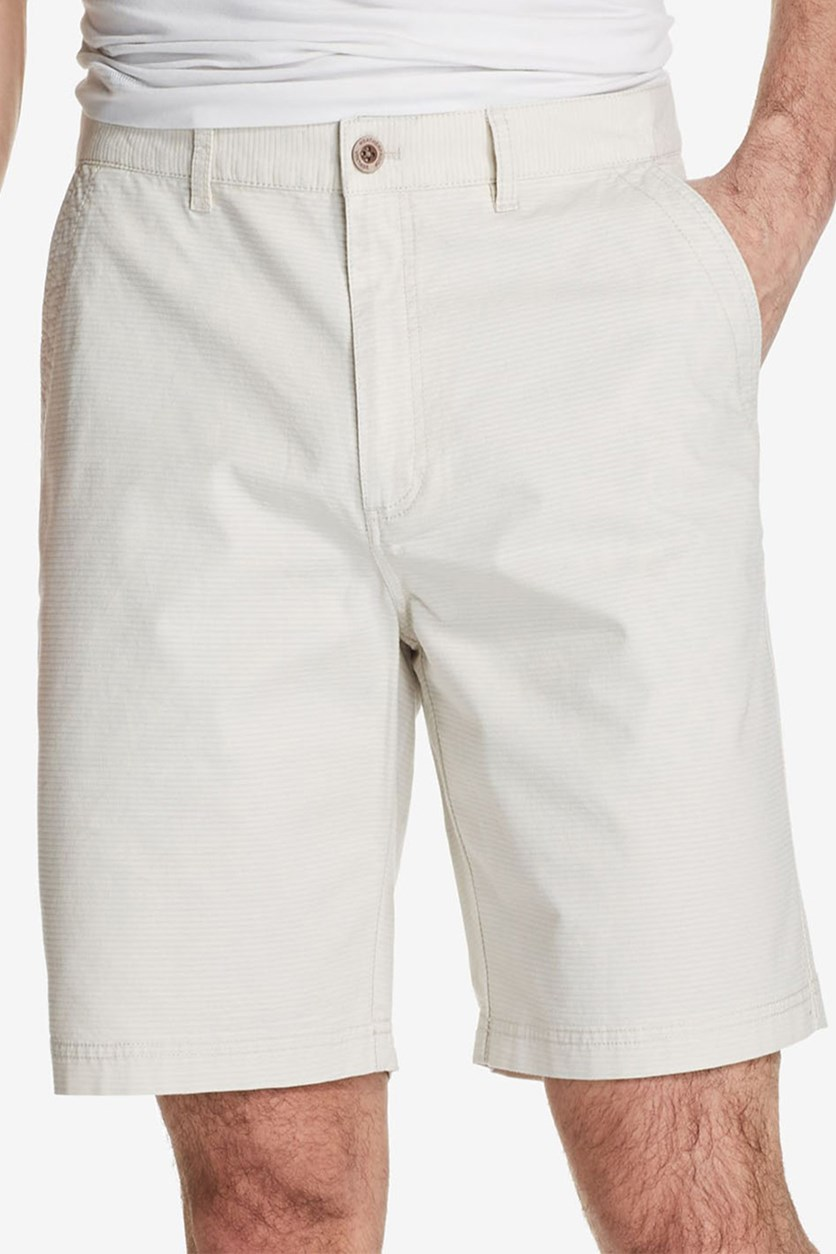 Vintage Men's Stretch Textured-Stripe Shorts, Stone