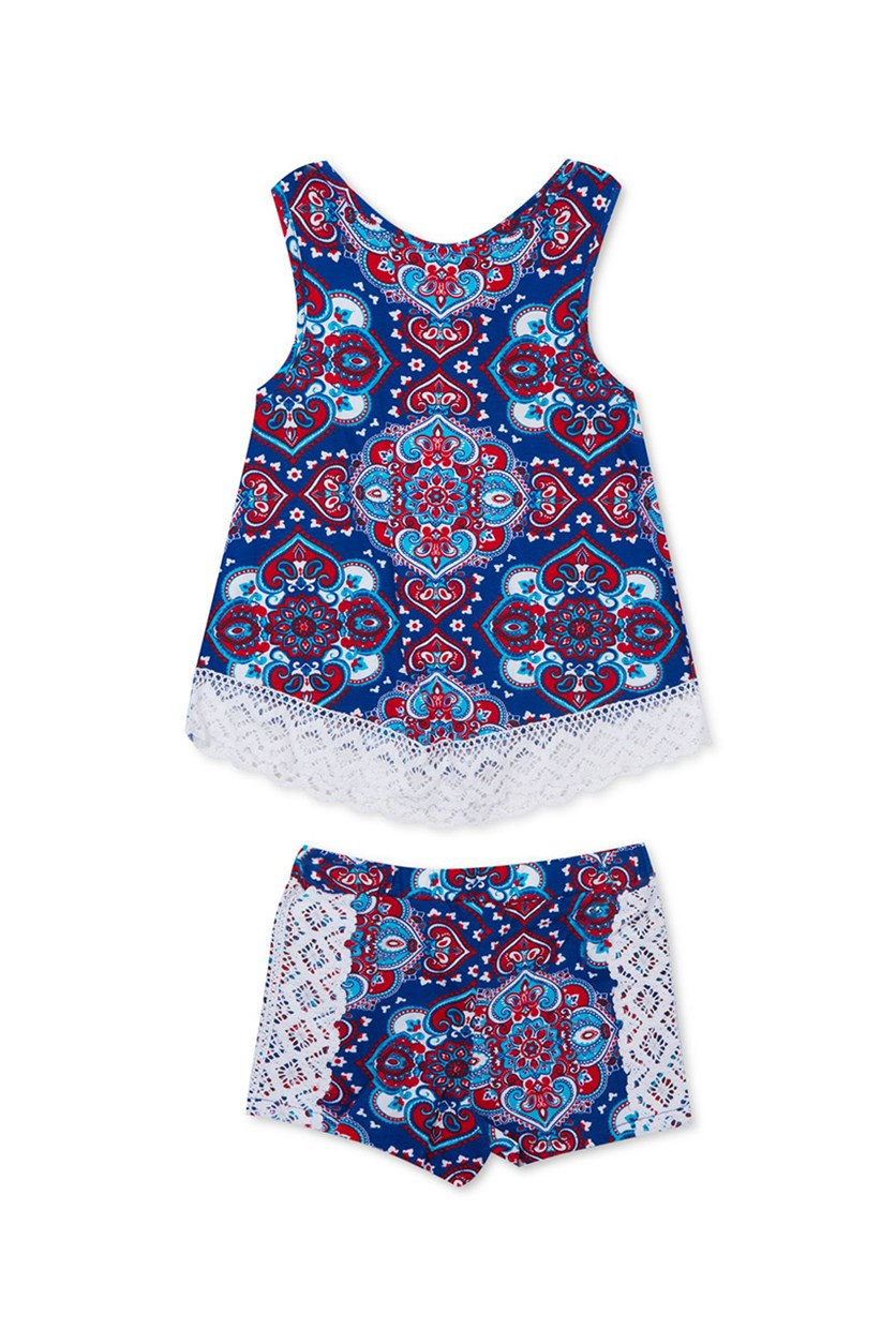 Baby Girls 2-Pcs. Paisley-Print Set, Navy Combo