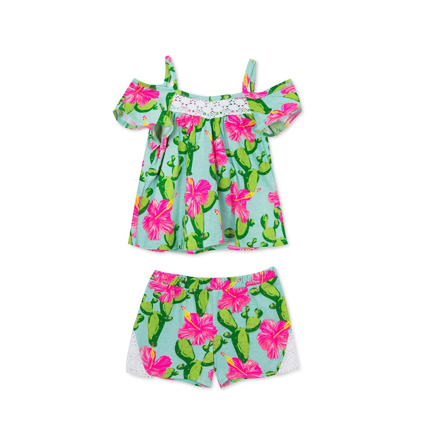 Baby Girls 2-Pc. Printed Cotton Top & Shorts Set, Pink/Green