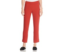 Eileen Fisher Petites Silk Slim Ankle Pants, Rust