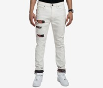 Sean John Mens Basquiat Ripped Printed Jeans, Gesso Wash