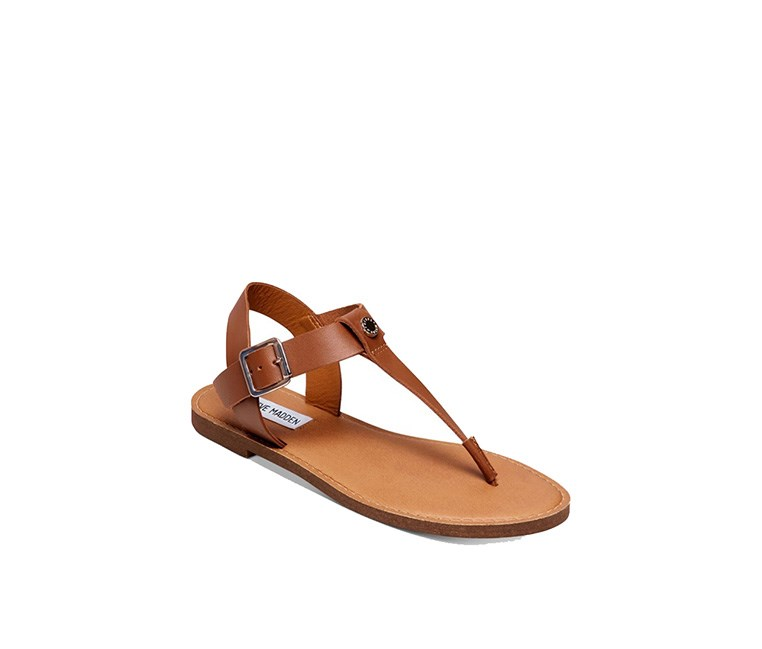 Womens Skylar T-Strap Flat Sandals, Cognac Leather