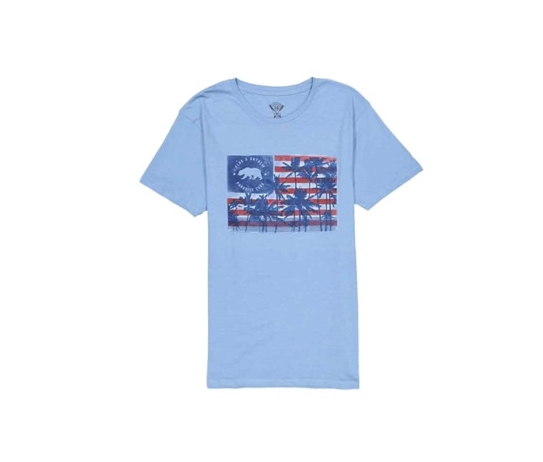 Men's Short Sleeve Graphic Print, Light Blue