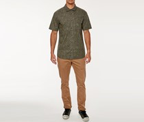 O'Neill Men's Livingston Short Sleeve Shirt, Olive Combo