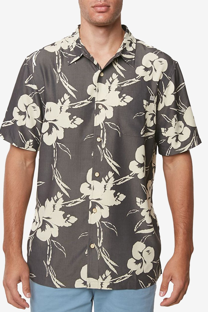 Men's Aloha Printed Shirt, Medium Beige