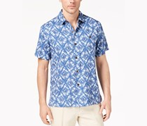 Tommy Bahama Men's Deep Water Diamond-Print Shirt, Dockside Blue