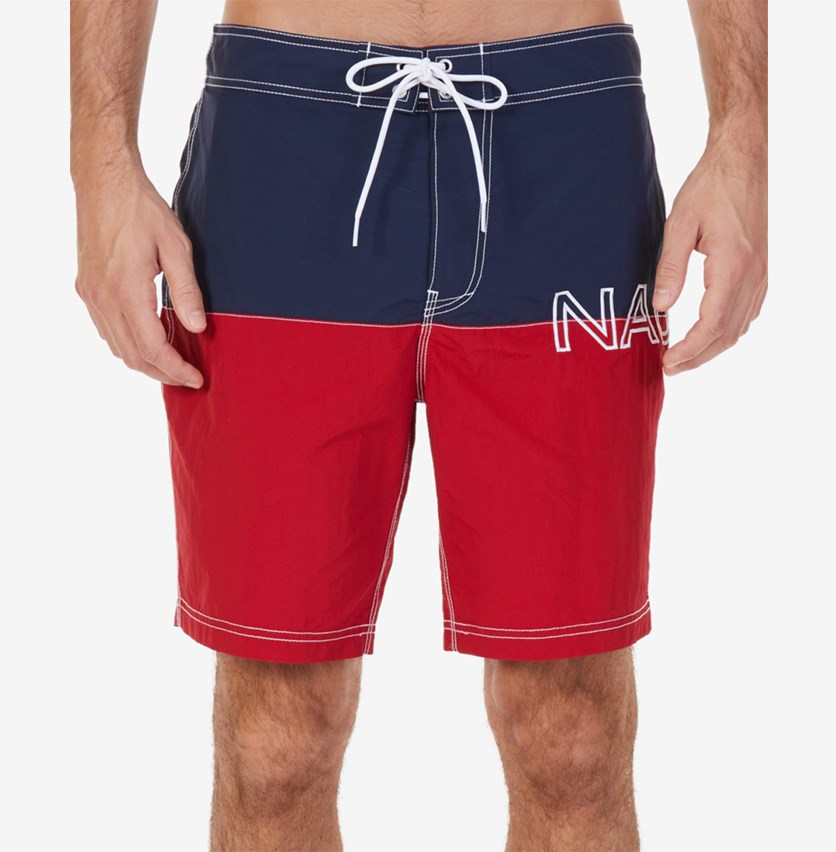 Men's Colorblocked Logo-Print Quick-Dry Swim Trunks, Navy/Red