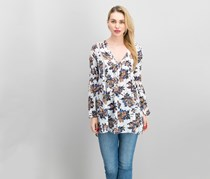 Re:named Women's Printed Blouse, Black/Off White Combo