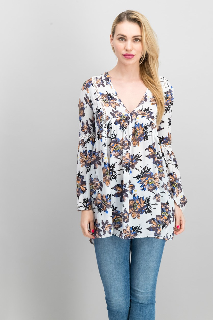 Women's Printed Blouse, Black/Off White Combo