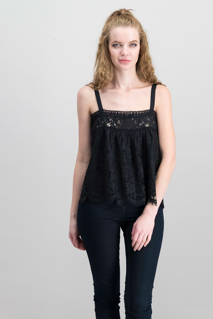 Women's Sleeveless Lace Top, Black