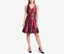 Women Floral Jacquard Fit Flare Dress, Red Combo