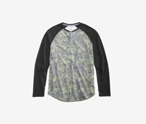 Mens Pattern-Blocked Long-Sleeve Raglan, Black