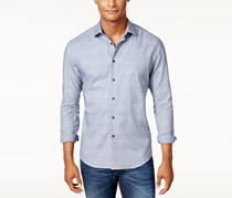 Vince Camuto Men's Textured Check Pocket Shirt, Navy Check