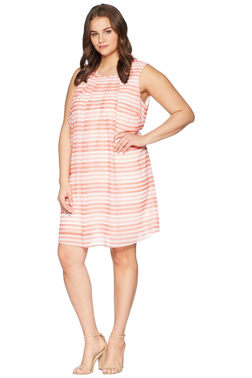 Plus Size Printed Pleated-Neck Trapeze Dress, Soft White Combo
