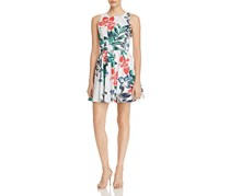 Aqua Botanical Print Fit-and-Flare Dress, White/Navy/Red Combo