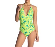 Onia Nina Plunging V-Neck Kiwi One-Piece Swimsuit, Lime Combo