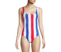 Onia Kelly Americana Stripe One-Piece Swimsuit, White/Blue/Red