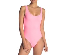 Onia Kelly Solid One-Piece Swimsuit, Neon Peach