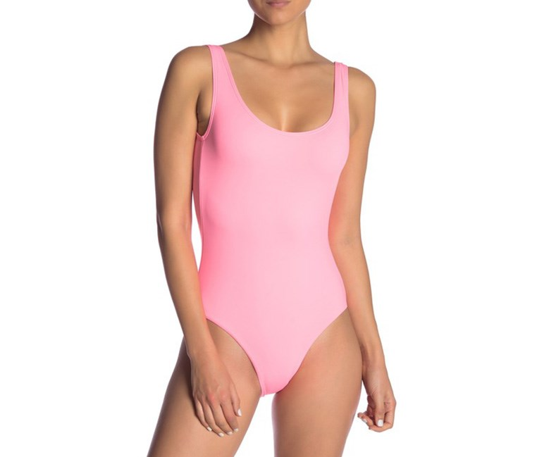 Kelly Solid One-Piece Swimsuit, Neon Peach