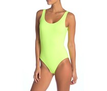 Kelly Solid One-Piece Swimsuit, Neon Yellow