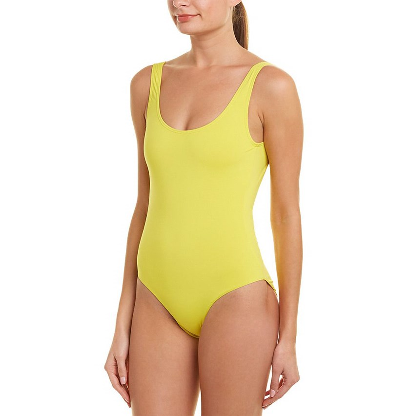 Kelly Solid One-Piece Swimsuit, Yellow