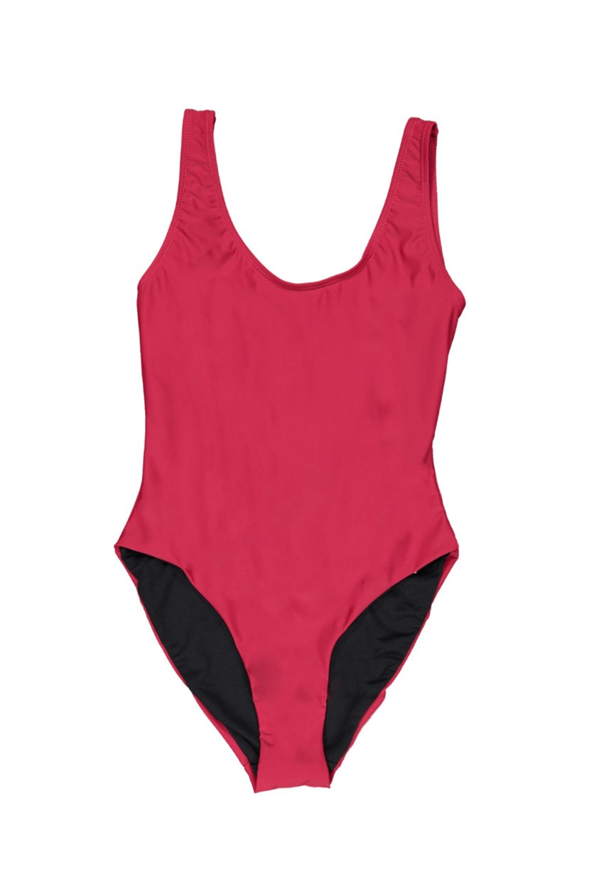 Kelly Solid One-Piece Swimsuit, Crimson