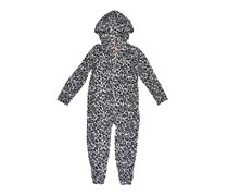 Girls Leopard Print Fleece Sleeper with Hood, Grey/Black Leopard