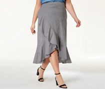 Soprano Trendy Plus Size Ruffled Hem Skirt, Black/White